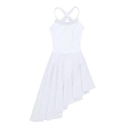inlzdz Kids Girls Cross Back Camisole Leotard Ballet Tutu Dress Lyrical Modern Contemporary Dance wear Costumes White Irregular Hem 13-14 Years