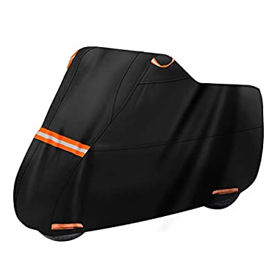 Motorcycle Cover Waterproof for Outdoor Storage, 210D Oxford Tear Resistant UV Protection Motorcycle Vehicle Covers with Lock Holes & Air vents Up to 108in Fit Harley Davidson, Honda, Yamaha, BMW by Femuar