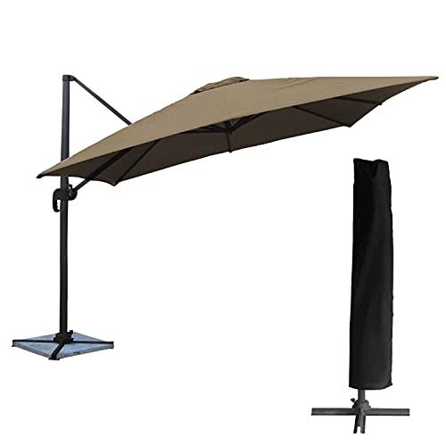 BENEFFITO OAHU - Parasol con Tapa de Almacenamiento Remoto - Inclinación de Rotary y tirón - protección UV - Easy Open - Topo / 3x3m Square