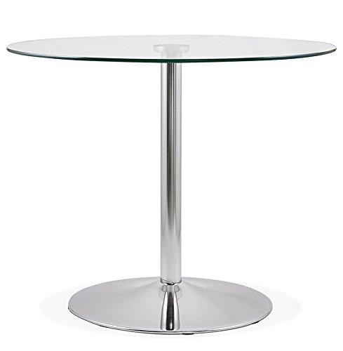 Alterego - Petite Table de Cuisine Ronde 'YOUPI' en Verre - Ø 90 cm
