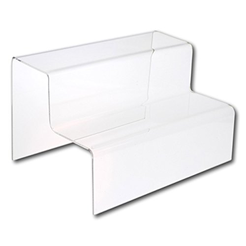 EPOSGEAR Two (2) Step Tier Clear or Coloured Acrylic Plastic Retail Riser Counter Display Stands - Perfect for Shops, Stalls, Ornaments, Models etc (Clear, Small)