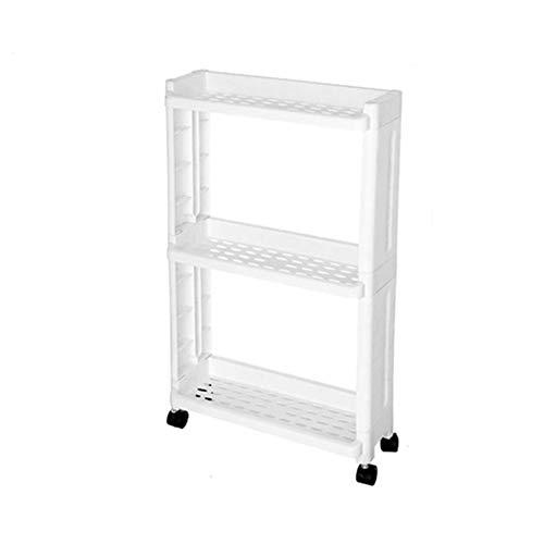 GJDBBLY Opbergrek voor goederen en koelkast, zijrek 2/3/4 laag, afneembaar met wielen, organizergap houder