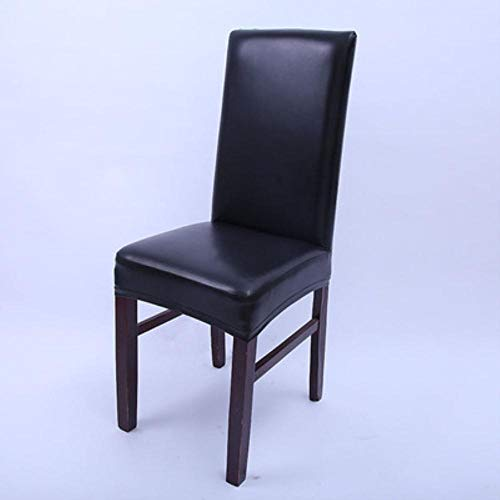LLAAIT Leather Fabric Solid Color Chair Cover Waterproof Dining Seat Chair Covers Hotel Wedding Chair Protector 2/4/6 Pcs