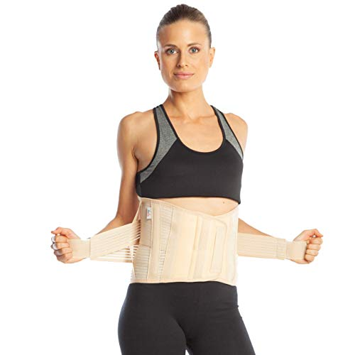 ArmoLine Rückenbandage - Rückenstütze - lumbosakral Rückenbandage - 26 cm Größe - Untere Lendenwirbelstütze Korsett (S, beige)