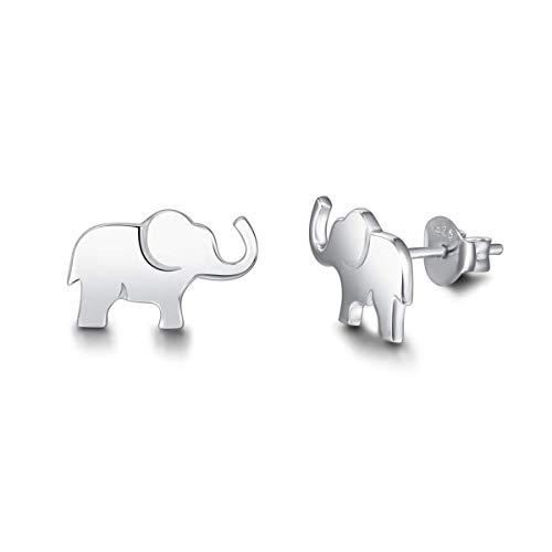 Elefant Ohrringe Ohrstecker Schmuck für Damen Mädchen Kinder 925 Sterling Silber Weiß Vergoldet - Größe: 13.2 * 8.2 mm