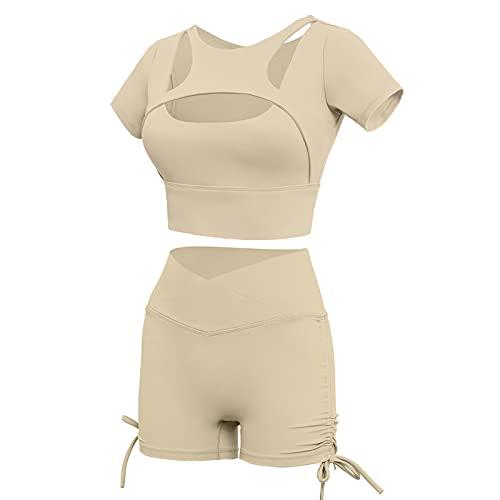 Traje de dos piezas para mujer, sexy, bodycon de color sólido, manga corta, recortado + pantalones cortos de levantamiento de glúteos, trajes deportivos de yoga, caqui, S