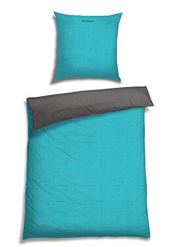 Schiesser Wendebettwäsche Doubleface Türkis-Anthrazit, 100% Baumwolle, Größe:135 x 200 cm + 80 x 80 cm
