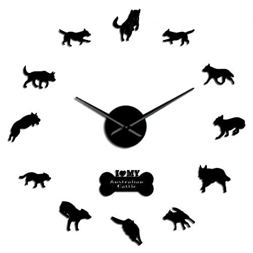 YQMJLF Reloj Pared DIY 3D Grande Perro de Ganado Reloj de Pared Grande Raza de Perro Heeler Cachorro de Pared Decoración del hogar Reloj Grande Reloj de Pared silencioso sin Marco Negro