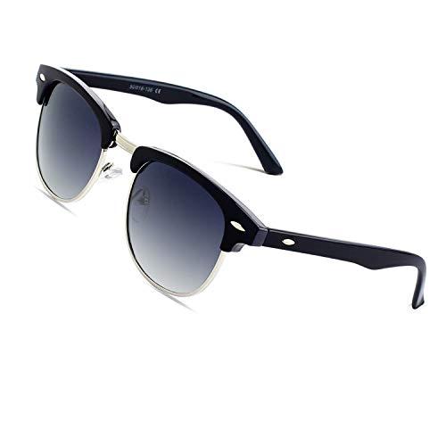 CGID MJ56 Retro Vintage Sonnenbrille im angesagte 60er Browline-Style mit markantem Halbrahmen Sonnenbrille,Silber-Violett