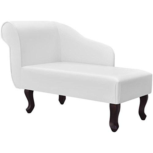 Tidyard Chesterfield Recamiere, Chaiselongue Lounge Sofa, Relax Liege, Kunstleder, Braun/Weiß Optional, 104 x 51 x 69,5 cm (L x B x H)