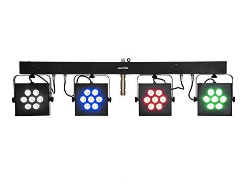 EUROLITE LED KLS-3002 Next Kompakt-Lichtset   Bar mit 4 lichtstarken RGBAW/UV-Spots, QuickDMX-Buchse, IR-Fernbedienung und Tasche
