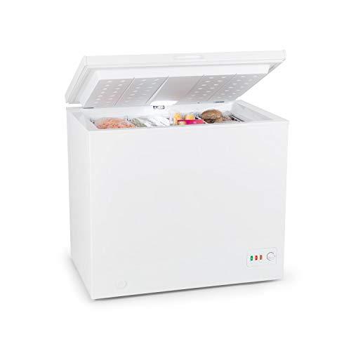 Klarstein Iceblokk Eco Congelador - Cámara congelador, Congelador de 3 estrellas, 200 litros, 49 W, 4 Cestas colgantes, Iluminación LED, Aislado, Regulador de temperatura,Ruedecillas, Blanco