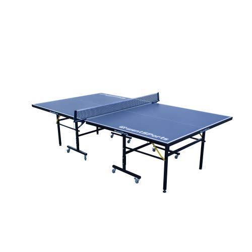 NOUVCOO Tischtennisplatte Set, Profi MDF Pingpong Tisch 95% vormontiert, Outdoor/Indoor mit Schnellklemme Ping Pong Netz, 2 Tischtennisschläger und 3 Bälle, Blau