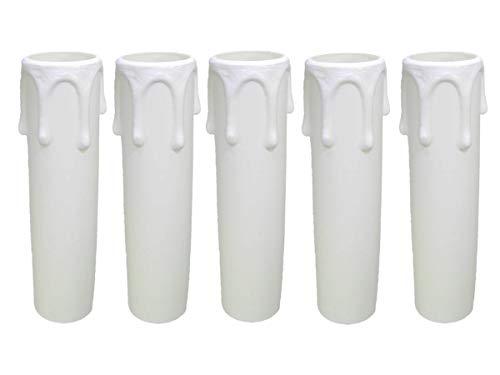 AMBROS – Cristal 5 casquillos E14 ~ Casquillo para vela 85 mm plástico blanco Ø 24/26 mm