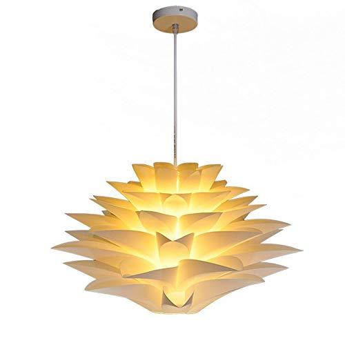 Lámpara DIY Puzzle Flor de Loto, pantalla para lámpara de techo, con set de fijación al techo, casquillo E27, cable de 90 cm, longitud puede ajustarse libremente, diámetro 35 cm, color blanco