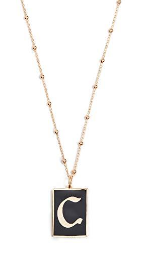 Maison Irem Women's Gothic Initial Necklace, C, Black, Gold, One Size