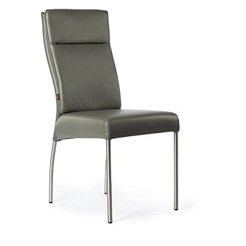 Lederstuhl Stuhl Gatto Rindsleder | Besucherstuhl Leder Stuhl Stühle Grau