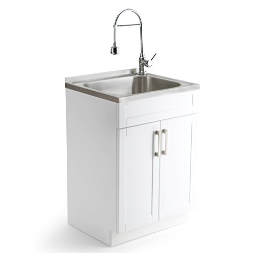 """Simpli Home Hennessy Laundry Cabinet with Faucet and Stainless Steel Sink, 24"""", Pure White"""