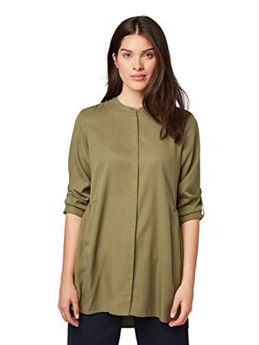 TOM TAILOR Damen Blusen, Shirts & Hemden Longbluse Dry Greyish Olive,40