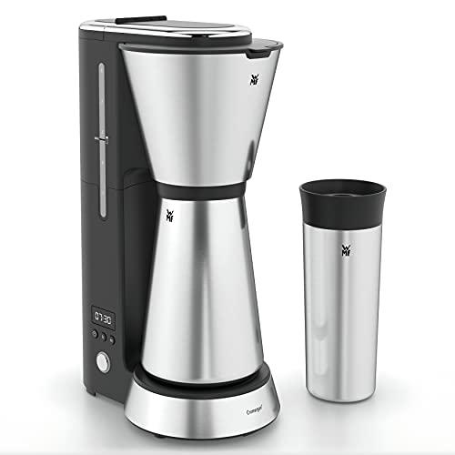 WMF Küchenminis Aroma Macchina da caffè con filtro e caraffa termica, 870 Watt, tazza termica da asporto, piccola macchina da caffè timer, Cromargan opaco