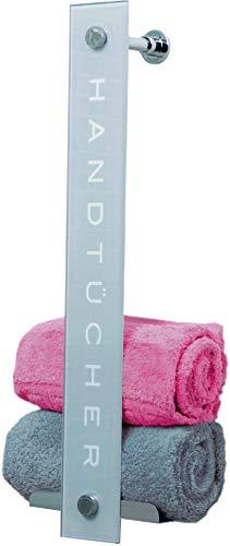 Cornat Handtuchhalter - Glas-Chrom-Design -  Zum Einhängen an Duschwänden & zur Wandmontage - Platz für bis zu 8 Handtücher - Mit zwei integrierten Haken / Handtuchregal / Handtuchablage / T319649