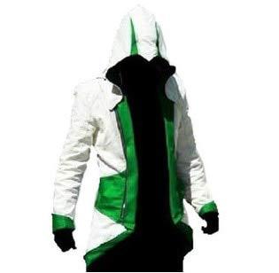 AHJSN - Disfraz de mujer para adultos y hombres y mujeres, con capucha y capucha para hombre, disfraz de Assassins Creed Halloween 4XL, color blanco y negro
