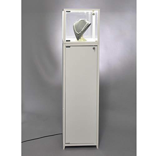 MHN beleuchtete verschließbare Haubenvitrine Glas mit weißem Sockel mit Staufach 42 x 42 x 143 cm