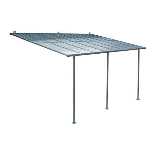 Outsunny Terrassendach Terrassenüberdachung Überdachung Sonnenschutz Veranda, Metall+Polycarbonat, 300x450cm