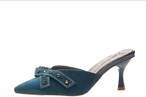 HOESCZS Tacones Altos Moda Viento zapatos De mujer De Tacón Alto Boca Baja En Punta zapatos De Tacón Alto zapatos Solos Decoración De Metal Salvaje