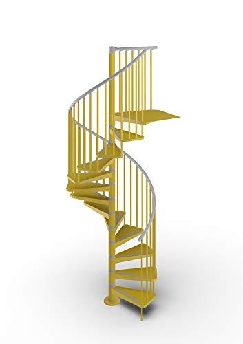 Mister Step Gamia Metal scala a chiocciola per interni in acciaio verniciato - Diametro 120 cm. 12 gradini (Giallo RAL 1023)