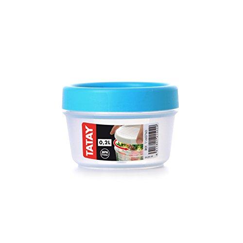 Tatay Recipiente con Tapa para Alimentos (con Rosca, Azul, 0,2L