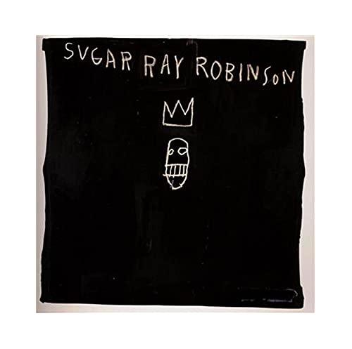 《Sugar Ray Robinson》 Jean-Michel Basquiat Cuadro en Lienzo| Lienzos Decorativos | Cuadros Decoración Dormitorios | Cuadros Decoración Salón (80x80cm (31x31inch), Sin marco)