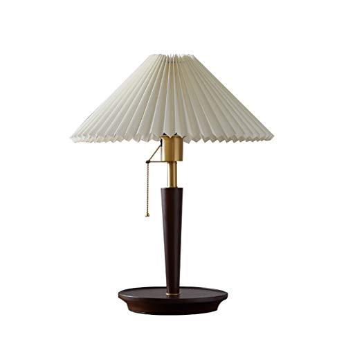 SPNEC Lámpara de mesa retro dormitorio de noche lámpara de mesita plisada nórdica lámpara de mesa medieval sala de estar de estudio lámpara de mesa red rojo