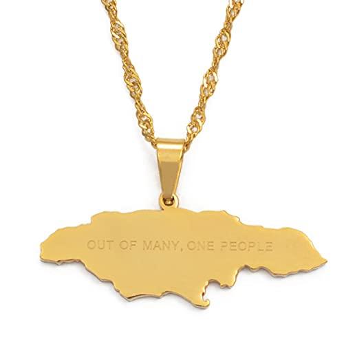 Mapa De Jamaica Con Fuera De Muchas, Una Persona Collares Pendientes Cadenas De Mapas De Jamaica De Acero Inoxidable Longitud De La Joyería: 60 Cm