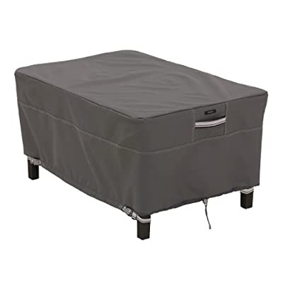 Classic Accessories Ravenna Rectangle Ottoman/Side Table Cover, Taupe