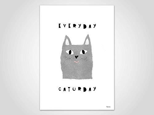 Caturday — Poster, Katze, Kunstdruck, Bilder, skandinavisch, Kinderzimmer, Deko, Familie, Kunst, Tier, Schmusen, Katzen, Spruch, Weihnachten