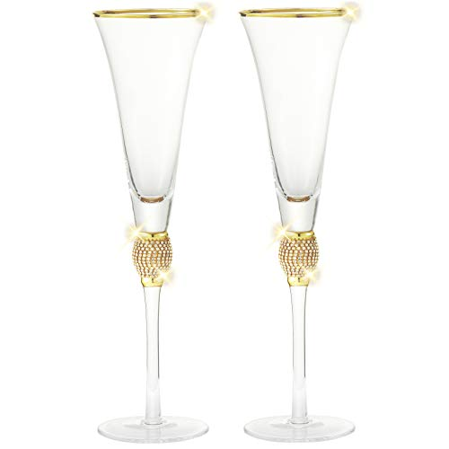 Cheer Collection Set of 6 Champagne Glasses - Luxurious Champagne Trumpet Flutes with Dazzling Rhinestone Design and Gold Rim