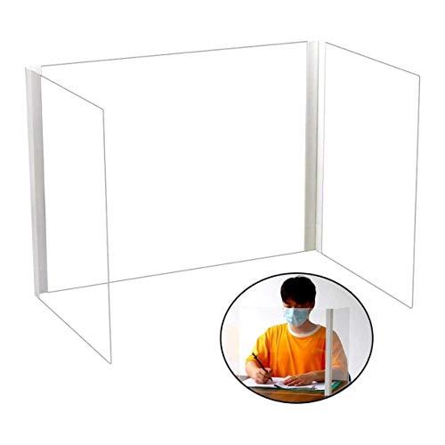 ATRNA Plexiglass Shield, Three Sided U-Shaped Folding Dining Table, Desk top Isolation partition Partition partition Student Desk Baffle Protective Sneeze Shield