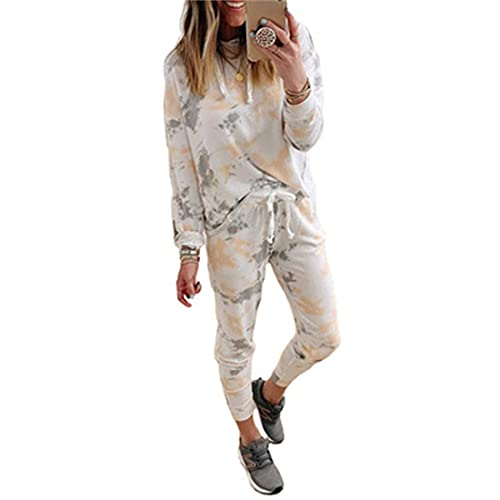 Womens Casual Pullover Hoodie 2 Piece Outfit Sweatsuits Long Sleeve Tie Dye Drawstring Sets Tracksuit