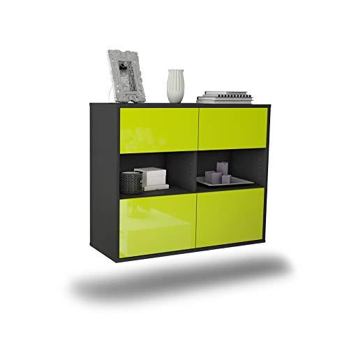 Dekati dressoir Richmond hangend (92x77x35cm) Corpus antraciet mat   Front hoogglans design   Push-to-Open modern groen