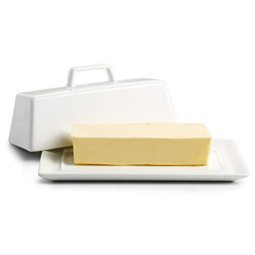 Porcelain Butter Dish with Lid, Covered Butter Keeper - Handle Design - Dishwasher Safe, White - Better Butter & Beyond (0.25 Lb Butter Dish)