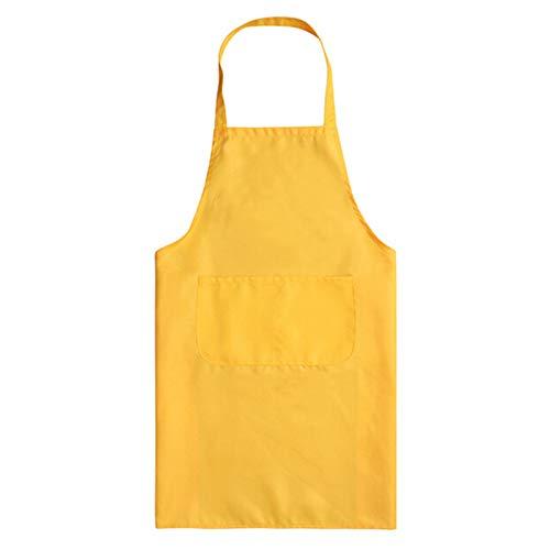 Delantal de cocina de color puro para mujer y hombre, chef, camarero, café, tienda, barbacoa, peluquería, delantales, baberos de regalo personalizados amarillo