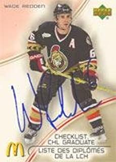 Wade Redden Ottawa Senators 2005 McDonald's Checklist CHL Graduate Autographed Card. This item comes with a certificate of authenticity from Autograph-Sports. Autographed