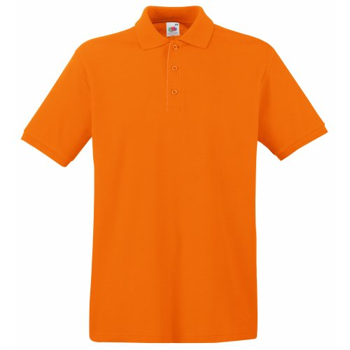 Fruit Of The Loom Herren Poloshirt aus 100% Baumwolle, Arancio, XL