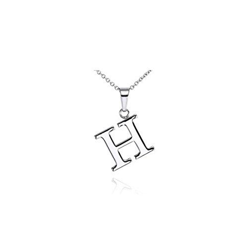 NYE NEIL JEWELRY argento 925 Ciondolo lettera H collana 18 pollici