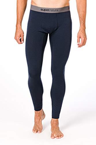Super.natural Caleçon Long Homme, Laine mérinos, M BASE TIGHT 175, Taille : S, Couleur : Bleu foncé