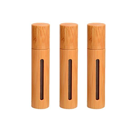 Cabilock 3 Stück 10ml Nachfüllbare Parfümrolle auf Flasche Bambusabdeckung Transparentes Fenster Leere Flasche mit Edelstahl-Rollerball für die Aromatherapie mit ätherischen Ölen (Holzfarbe)