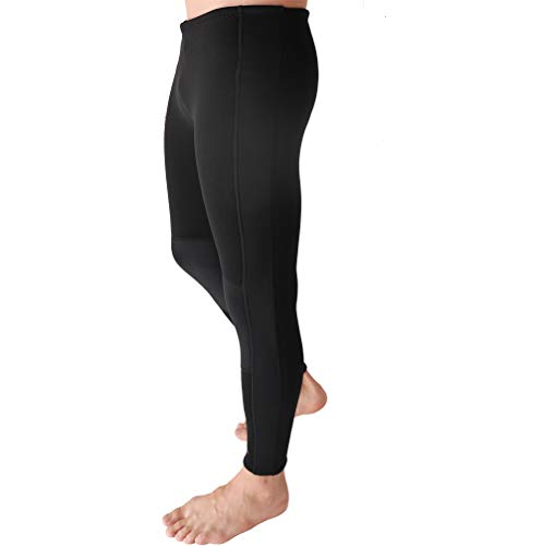 REALON Surfing Wetsuit Pant 1.5mm Men Womens Compression Leggings Boys Swimming Tights,Stretch Body, Keep Warm in Cold Water,Diving Snorkeling Scuba Surf Canoe Pants (Black 1.5mm, S)