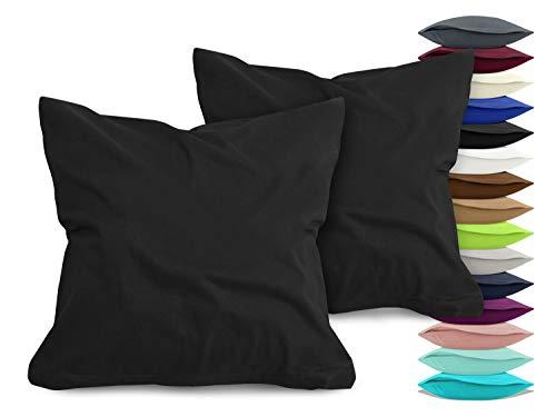 npluseins 2er Pack Baumwoll Kissenbezug - Jersey - viele Farben 1331.1812, ca. 40 x 40 cm, schwarz
