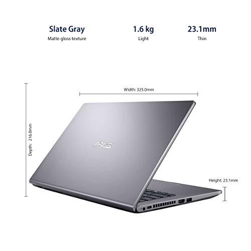 ASUS VivoBook 14 Intel Core i3-1005G1 10th Gen 14-inch FHD Compact and Light Laptop (4GB RAM/256GB NVMe SSD/Windows 10/MS Office 2019/Integrated Graphics/Slate Grey/1.60 kg), X409JA-EK238TS